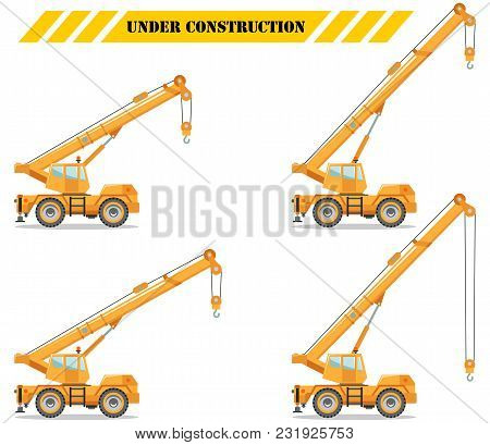 Detailed Illustration Of Colored Crane Truck With Different Boom Position, Heavy Equipment And Machi