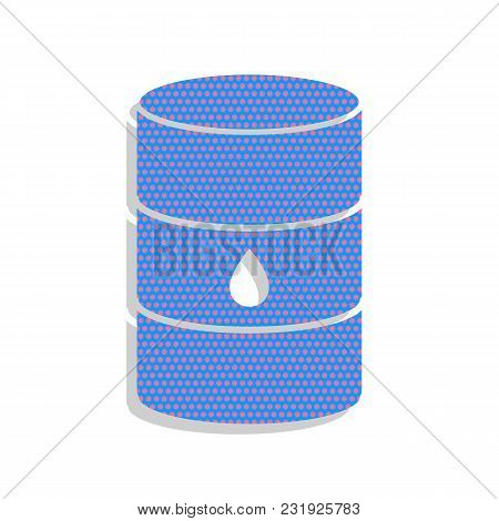 Oil Barrel Sign. Vector. Neon Blue Icon With Cyclamen Polka Dots Pattern With Light Gray Shadow On W