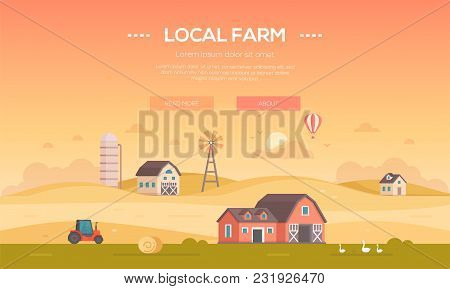 Local Farm - Modern Flat Design Style Vector Illustration On Orange Background With Place For Text.