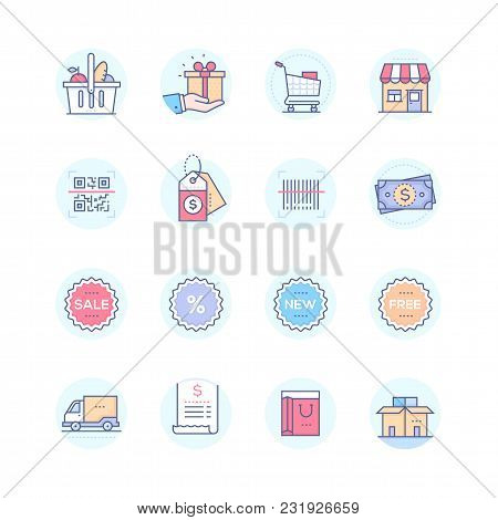 Shopping - Modern Vector Colorful Icons Set In Blue Round Frame. Images Of A Product Basket, Present
