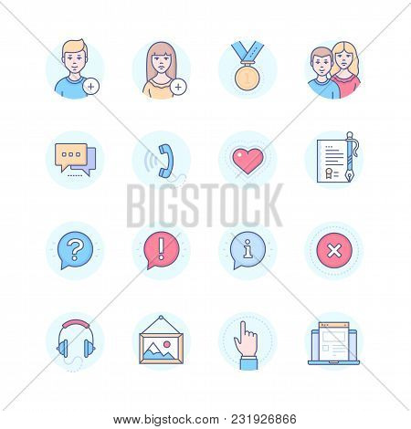 Social Media - Modern Line Design Style Icons Set In Blue Round Frame. To Add Female Or Male User, M