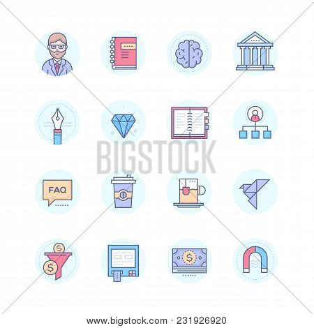 Business And Finance Concepts - Modern Line Design Style Icons Set In Blue Round Frame. Professor, N