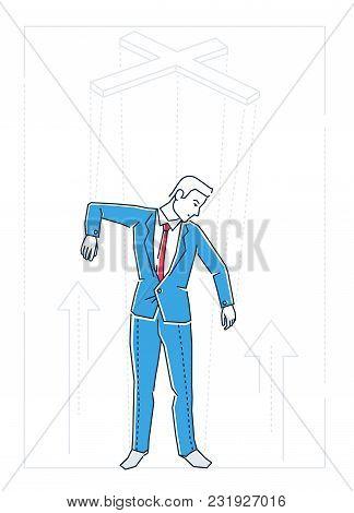 Marionette Businessman - Line Design Style Isolated Illustration On White Background. Metaphorical I