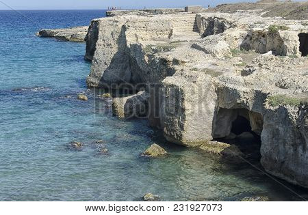 View Of The Beautiful Cliffs And Sea Of The Salento
