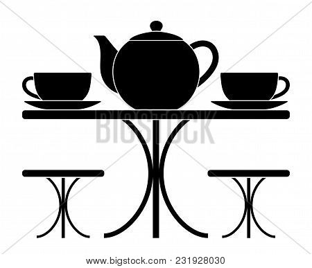 Vector Table With Teapot And Cups Of Tea Isolated On White Background