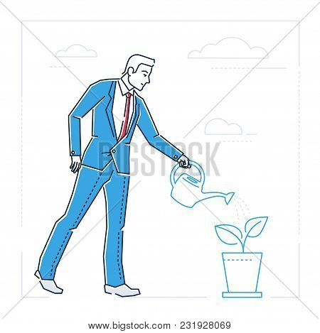 Businessman Watering The Plant - Line Design Style Isolated Illustration On White Background. Metaph