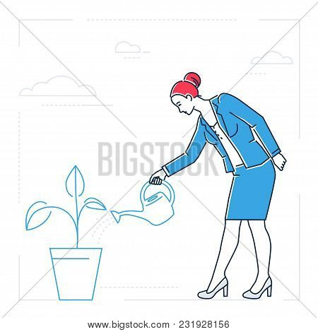 Businesswoman Watering The Plant - Line Design Style Isolated Illustration On White Background. Meta