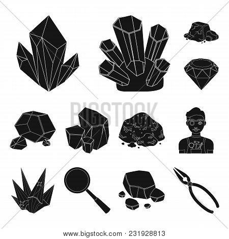 Precious Minerals Black Icons In Set Collection For Design. Jeweler And Equipment Vector Symbol Stoc
