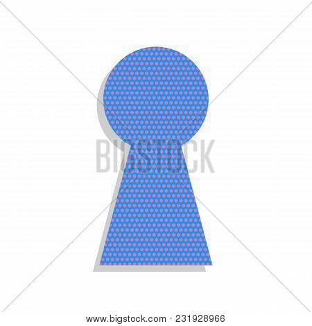 Keyhole Sign Illustration. Vector. Neon Blue Icon With Cyclamen Polka Dots Pattern With Light Gray S