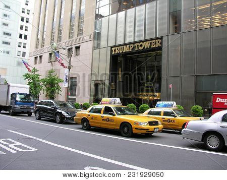 Main Entrance Of The Trump Tower In New York Usa With American Flag And New York Traffic On May 18,