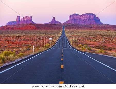 Scenic view of Monument Valley in Utah at twilight,  United States.