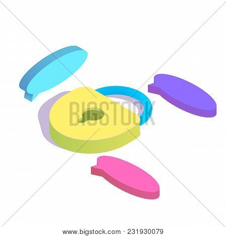 Isometric Lock With Chat Bubbles Simple Icon. Secret Chat Concept Vector Illustration