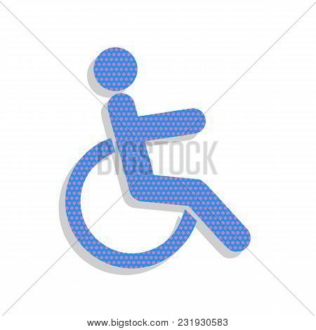 Disabled Sign Illustration. Vector. Neon Blue Icon With Cyclamen Polka Dots Pattern With Light Gray
