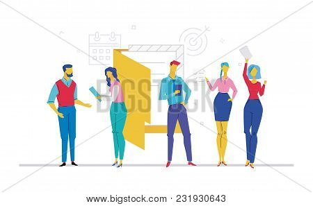 Business Meeting - Flat Design Style Colorful Illustration On White Background. A Composition With O