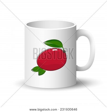 Cup Isolated On A White Background, Front View On A Mug With Tropical Fruit Red Mango , Vector Illus