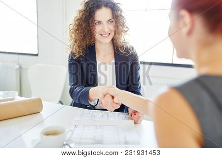 Handshake between businesswomen during application meeting