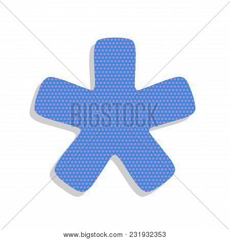 Asterisk Star Sign. Vector. Neon Blue Icon With Cyclamen Polka Dots Pattern With Light Gray Shadow O