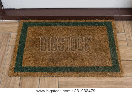 Brown Natural Rug With Green Contour In Front Of The White Entrance Door.