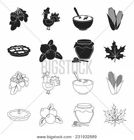 Cranberry, Pumpkin Pie, Honey Pot, Maple Leaf.canada Thanksgiving Day Set Collection Icons In Black,