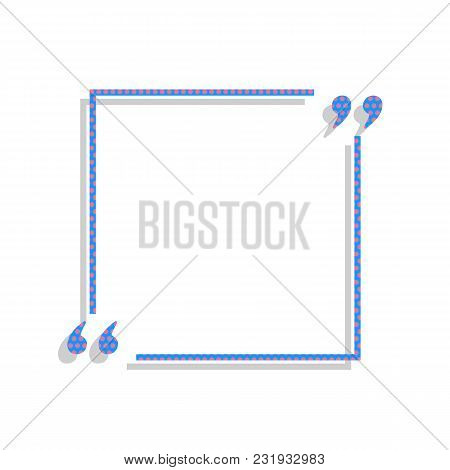 Text Quote Sign. Vector. Neon Blue Icon With Cyclamen Polka Dots Pattern With Light Gray Shadow On W
