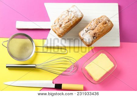 Set of kitchen utensils with products on color background. Cooking master classes