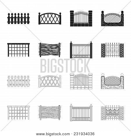 A Fence Of Metal And Bricks, Wooden Palisade. A Different Fence Set Collection Icons In Black, Outli