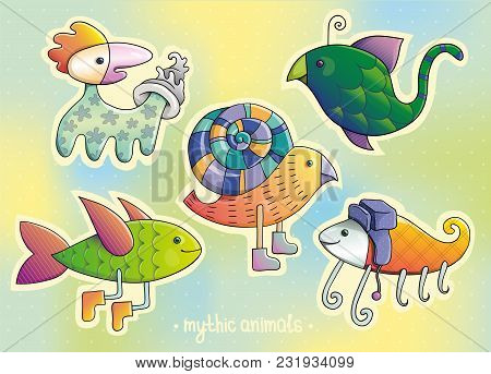 Cartoon Animals, Mythic Animals, Colorful Stickers, Animals Set, Sticker Set, Vector Illustration, C