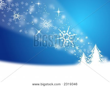 Christmas Trees With Snow Flake