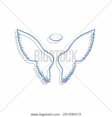 Wings Sign Illustration. Vector. Neon Blue Icon With Cyclamen Polka Dots Pattern With Light Gray Sha