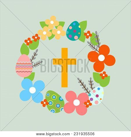 Easter Wreath With Easter Eggs, Flowers, Cross