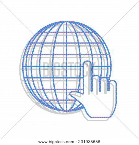 Earth Globe With Cursor. Vector. Neon Blue Icon With Cyclamen Polka Dots Pattern With Light Gray Sha
