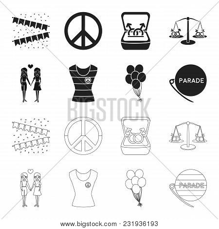 Lesbians, Dress, Balls, Gay Parade. Gay Set Collection Icons In Black, Outline Style Vector Symbol S