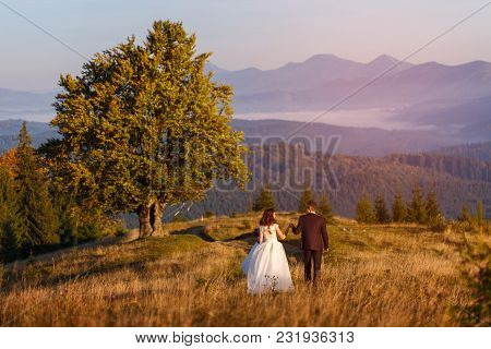 Man And Woman Just Married In The Mountains At Sunset. Happy Couple In Love.