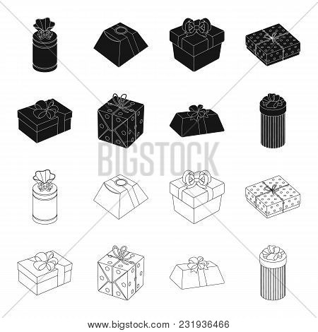 Gift Box With Bow, Gift Bag.gifts And Certificates Set Collection Icons In Black, Outline Style Vect