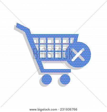 Shopping Cart With Delete Sign. Vector. Neon Blue Icon With Cyclamen Polka Dots Pattern With Light G