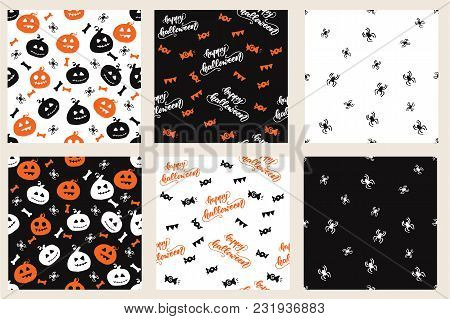 Set Of Seamless Patterns With Halloween Designs. Vector Illustration.