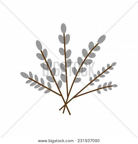 Willow Branch Icon, Flat Style. Isolated On White Background. Vector Illustration,
