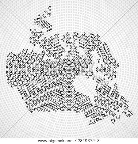 Abstract Canada Map Of Radial Dots, Halftone Concept