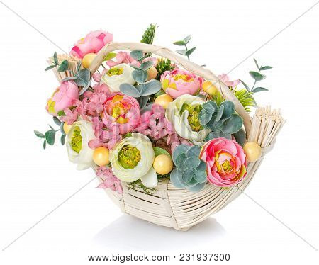 Bouquet, Composition Of Flowers In A Wicker Basket On A White Background