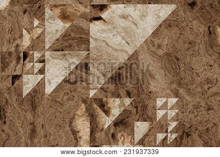 Grid Of Different Size Triangles  On A Wooden Background. 2d Illustration