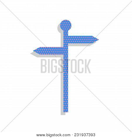 Direction Road Sign. Vector. Neon Blue Icon With Cyclamen Polka Dots Pattern With Light Gray Shadow