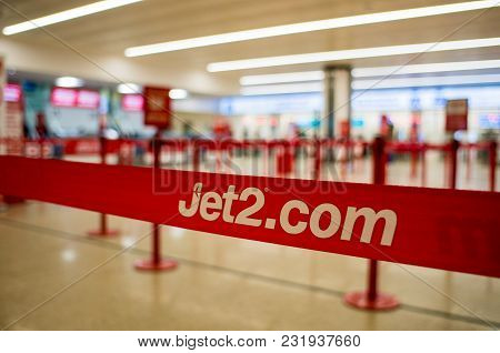 Birmingham, United Kingdom - March 02 2018 : Jet2 Check In Counter At The Airport In Birmingham, Uk