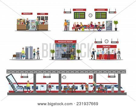Railway Station Interior Illustrations With Passengers And Visitors.