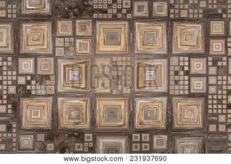 Grid Of Different Size Squares Like A Picture Frames On A Wooden Background. 2d Illustration