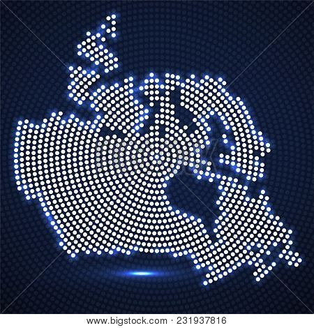 Abstract Canada Map Of Glowing Radial Dots, Halftone Concept