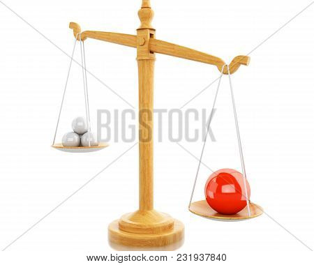 3d Illustration. Scales Balance With White Spheres. Business Concept. Isolated White Background.