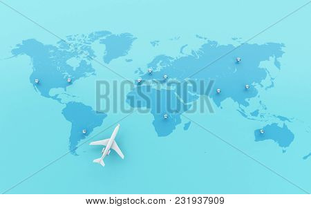 3d Illustration. Airplanes Flying Around Globe With Map Pointer. World Travel Concept.