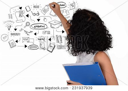 Portrait Of Beautiful School Teacher Drawing Graduation Sketch. Education Concept. Isolated White Ba