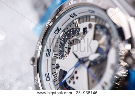 Wrist Watch In Close Up In Abstract Background