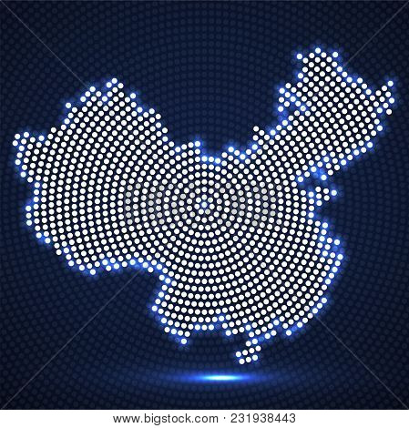 Abstract China Map Of Glowing Radial Dots, Halftone Concept